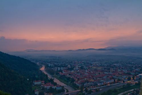 slovenia celje sunset cityscape