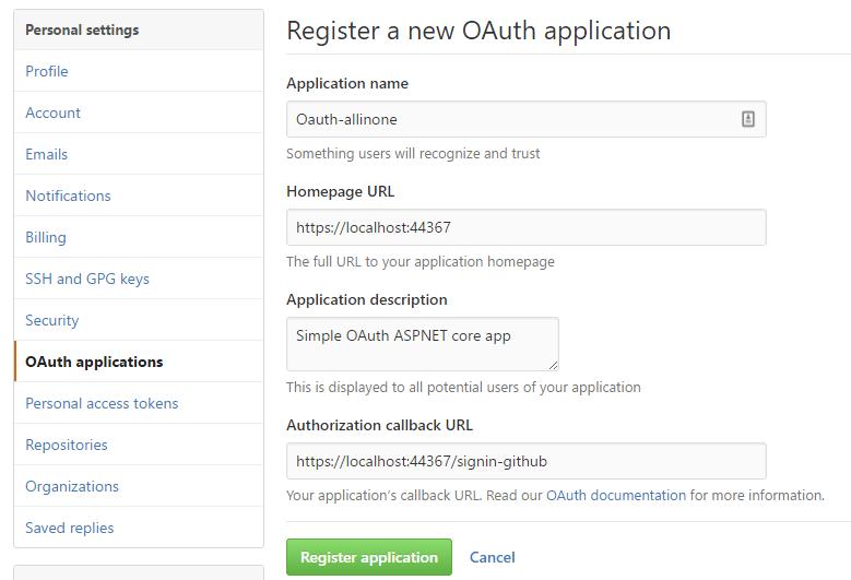 Création de l'application dans GitHub