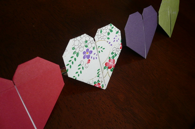 Standing Origami Hearts