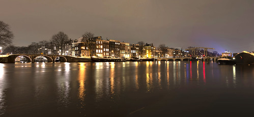 winter snow cold water netherlands amsterdam night river canal amstel blinkagain