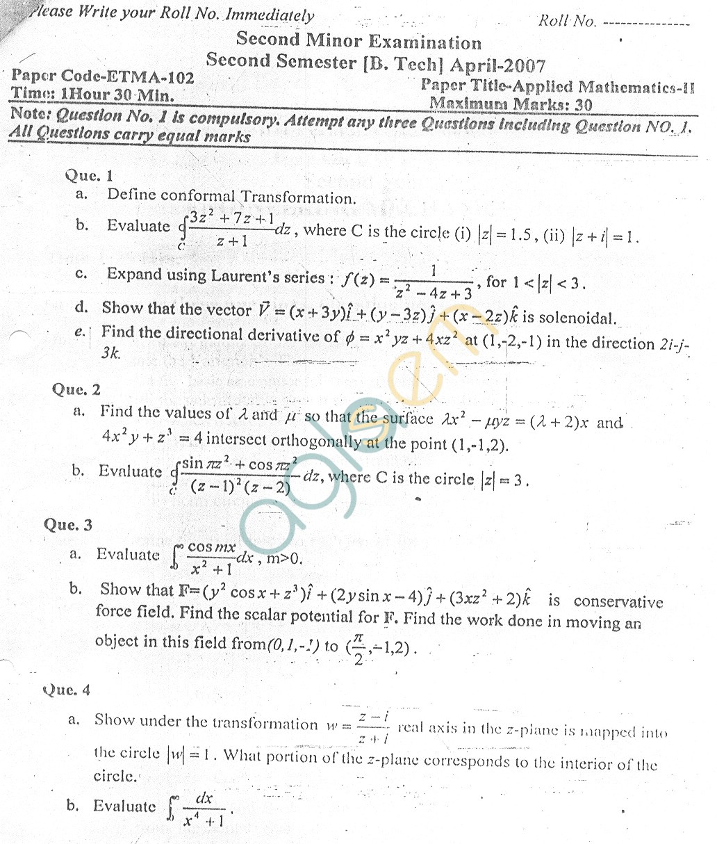 GGSIPU Question Papers Second Semester – Second Term 2007 – ETMA-102