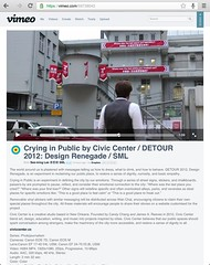"""""""Crying in Public by Civic Center / DETOUR 2012: Design Renegade"""" / SML.20130216.SC.Vimeo.59738042"""