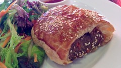 Sausage roll lunch with salad at Mia Stanza Caffe in St Kilda