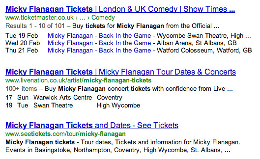 A Google search for Micky Flanagan tickets