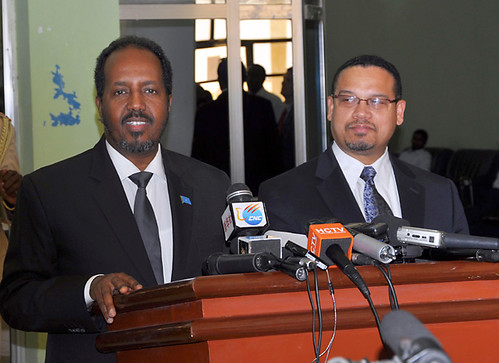 US Congressman Keith Ellison from Minnesota visited Somalia on February 19, 2013. He met with President Hassan Sheik Mohamoud. by Pan-African News Wire File Photos