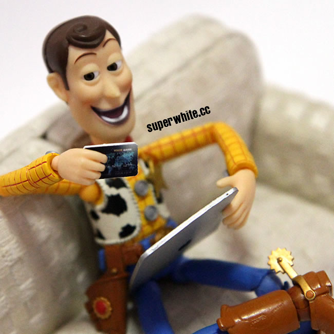 Woody won't quit Online Shopping until he go broke.