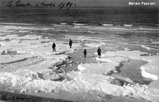Mer du Nord gelée sur les plages de Belgique lors de la vague de froid de février 1929 météopassion