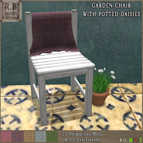 *RnB* Garden Chair with Daisies - 5 Anims & 5 Cloth Textures -