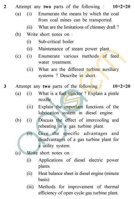 UPTU B.Tech Question Papers - ME-801 - Power Plant Engineering