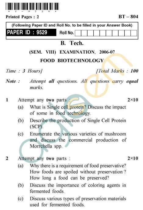 UPTU B.Tech Question Papers - BT-804 - Food Biotechnology