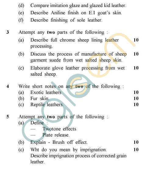 UPTU B.Tech Question Papers - LT-803 - Processing of Leather-II