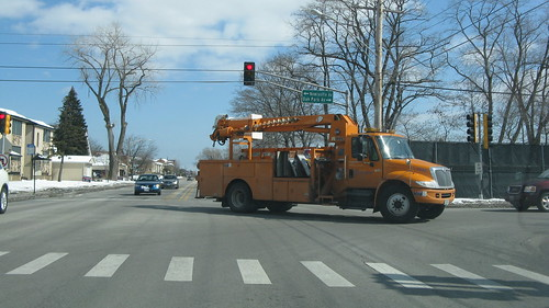 An Illinois Department of Transportation International snorkel truck.  Chicago Illinois.  Thursday, March 6th, 2013. by Eddie from Chicago