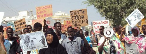 A demonstration in the Somalian breakaway region of Puntland. The region has not been officially recognized by the UN or the AU but is rich in oil. by Pan-African News Wire File Photos