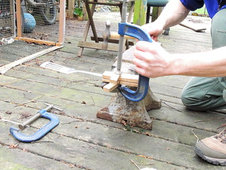 Rivetting the spatula handle blocks