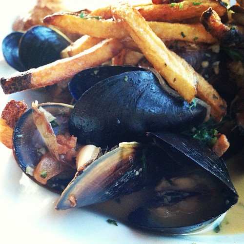 Mussels in buttery wine sauce. This place was amazing.