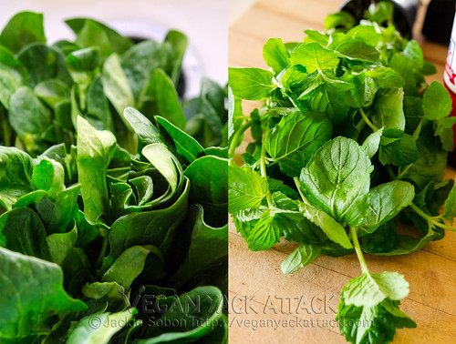 Fresh spinach and mint