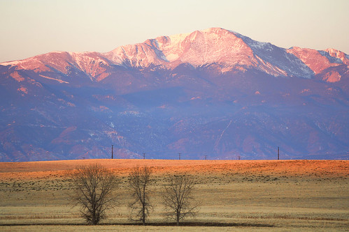 pink blue winter snow mountains sunrise colorado unitedstates rockymountains blackforest pikespeak peyton