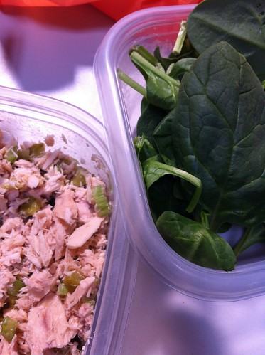 dry tuna and spinach.