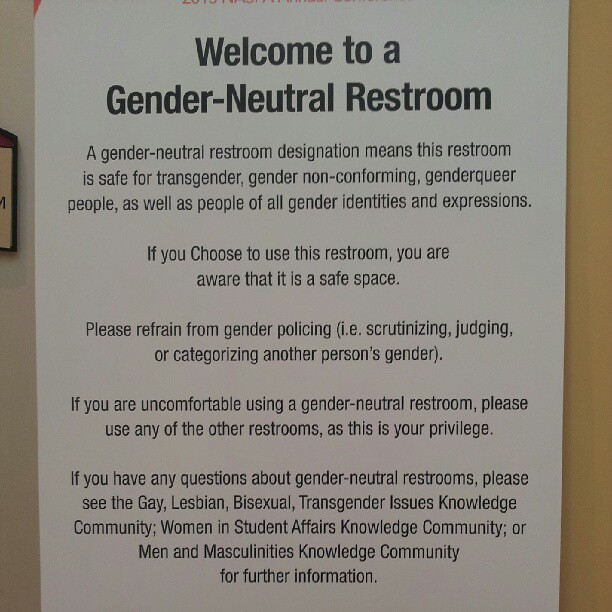 Gender-neutral bathroom sign.