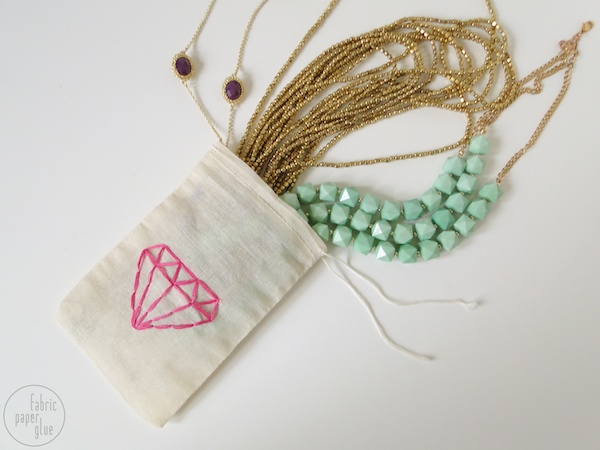 DIY Embroidered Jewelry Pouch