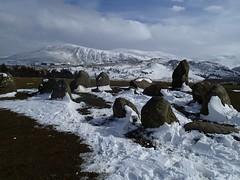 Ancient Castlerigg stone circle in snow