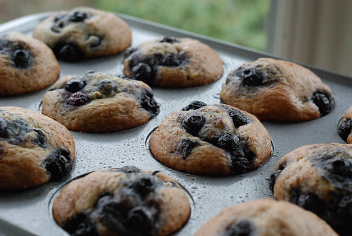 Banana Blueberry Muffins in Pan