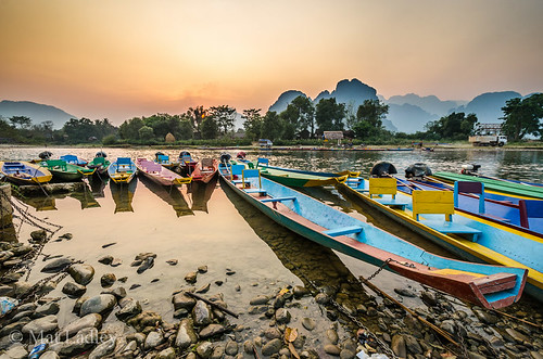 travel sunset colour sunrise river landscape boat asia southeastasia laos karst vangvieng vientiane