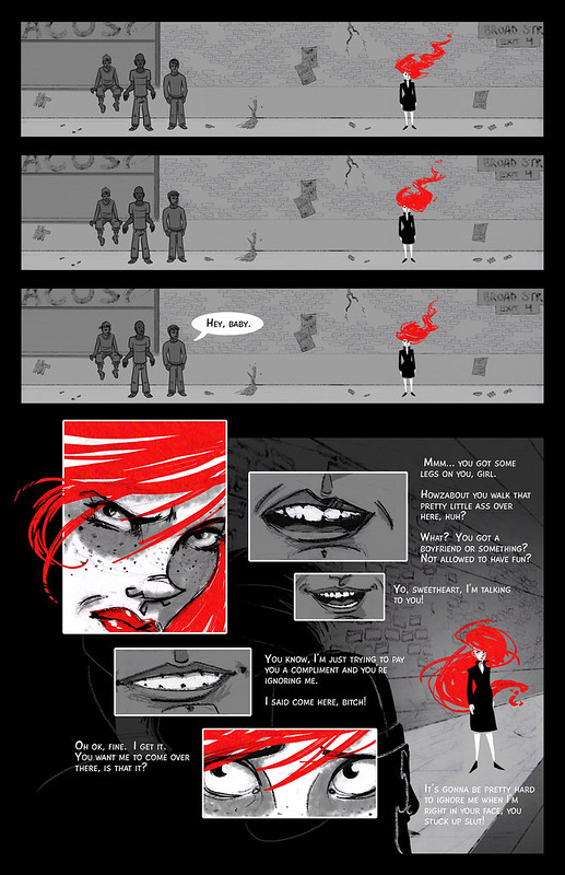 page from hollaback comic featuring a woman with blazing red hair being catcalled