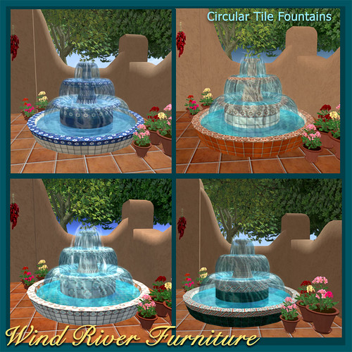 Circular Tile Fountains by Teal Freenote