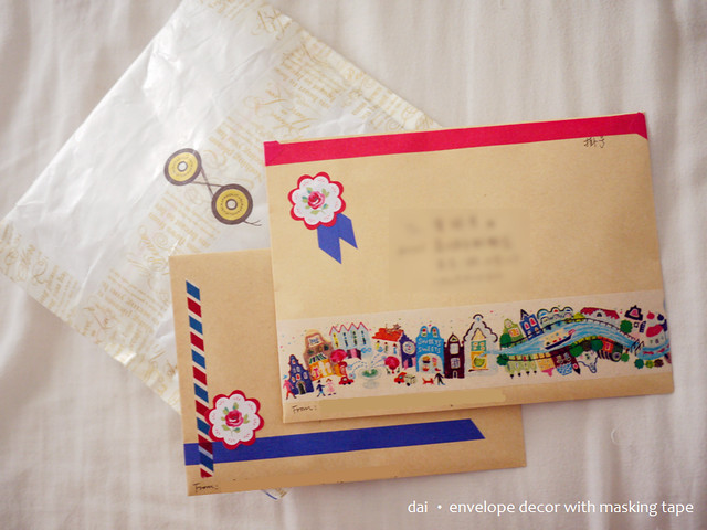 envelope decor with masking tapes