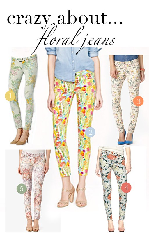 crazy for layout - floral jeans