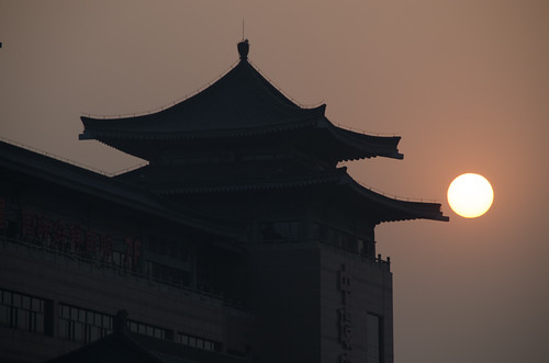 china sunset sun pagoda xian shaanxi