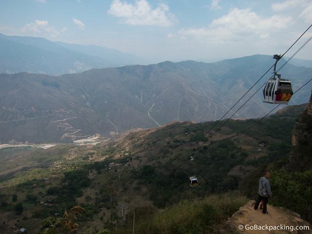 View of Chicamocha Canyon from Mesa de los Santos. Parque Chicamocha is located along the ridge in the middle of the photo