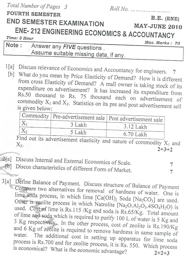 DTU Question Papers 2010 – 4 Semester - End Sem - ENE-212