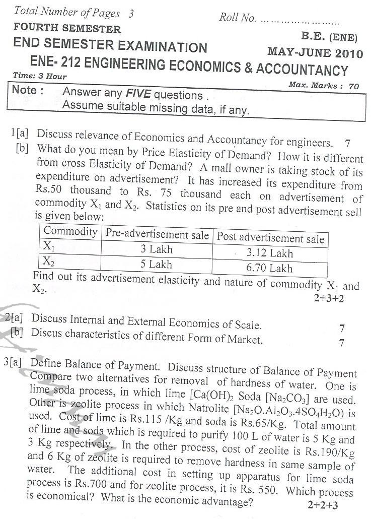DTU Question Papers 2010 – 4 Semester - End Sem - ENE-212