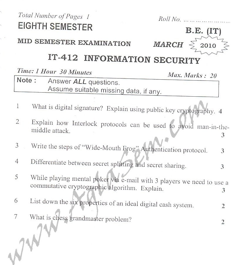 DTU Question Papers 2010 – 8 Semester - Mid Sem - IT-412