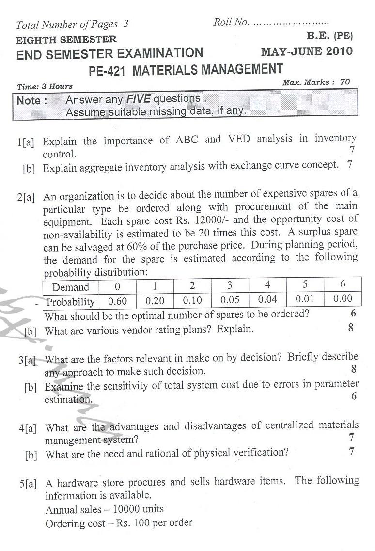 DTU Question Papers 2010 – 8 Semester - End Sem - PE-421