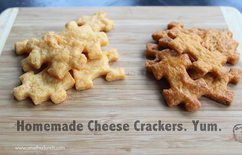 cheese crackers, mild vs. spicy - yum.. spicy YUM