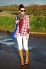 White jeans & tan boots with plaid