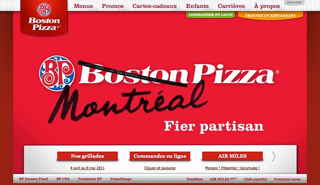 The 'Montreal Pizza' website