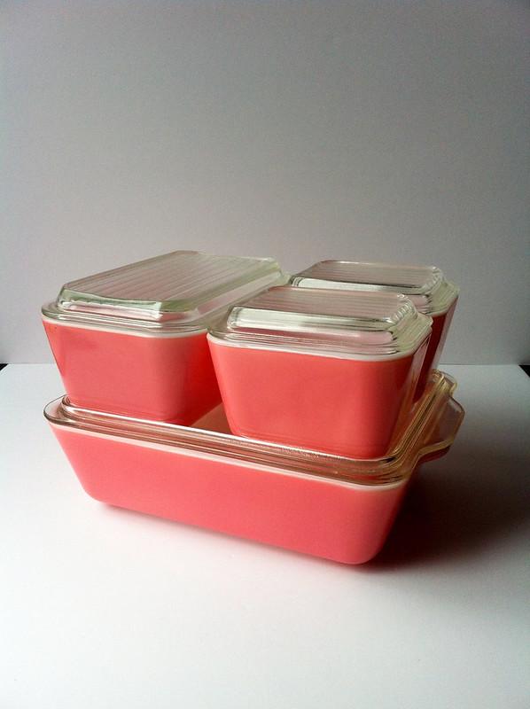 Pink Pyrex Refrigerator Set