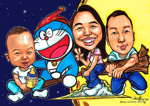 family caricatures with Doraemon