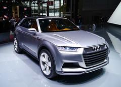 executive car(0.0), family car(0.0), audi sportback concept(0.0), sedan(0.0), automobile(1.0), automotive exterior(1.0), audi(1.0), sport utility vehicle(1.0), wheel(1.0), vehicle(1.0), automotive design(1.0), auto show(1.0), audi allroad(1.0), bumper(1.0), concept car(1.0), land vehicle(1.0), luxury vehicle(1.0), motor vehicle(1.0),