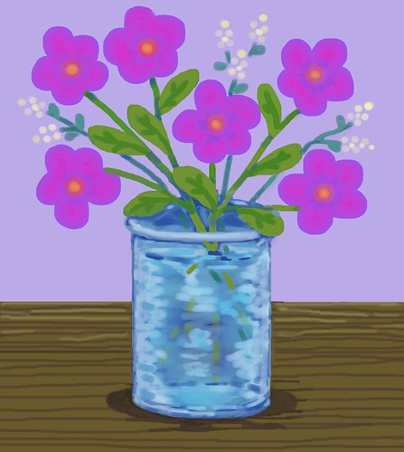 Pink Flowers in Blue Vase (Digital Pastel Day 6) by randubnick