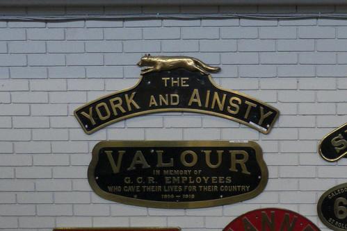 20130329 007a NRM York. Nameplate. LNER D49 62737 'THE YORK AND AINSTY'. GCR 9Q, LNER B7 6165 'VALOUR'