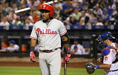 The Phillies' Maikel Franco looks into the dugout during the 11th inning.