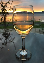 Sunset in Glass of Wine Taupo New Zealand