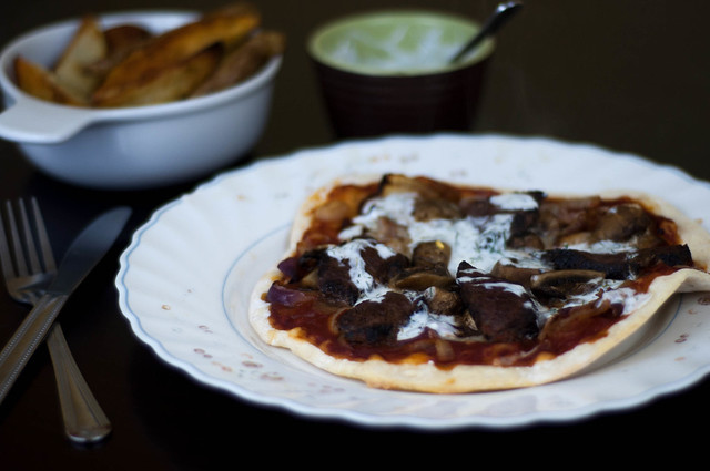 caribou pizza with mushroom, onion jam and dill yoghurt