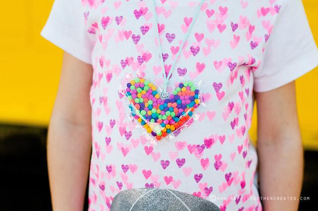 Children/'s Bright Pink Love Heart Pom Pom Shorts