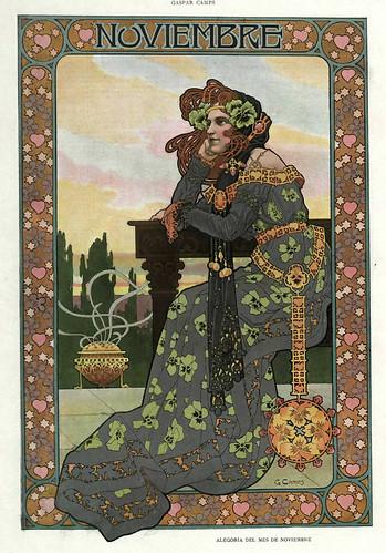 011-Alegoria del mes de Noviembre- Gaspar Camps-Revista Álbum Salón-Enero de 1901 -Hemeroteca de la Biblioteca Nacional de España